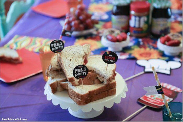 PB&J party is fun and delicious. Make sure to add this to your kids party food menu.