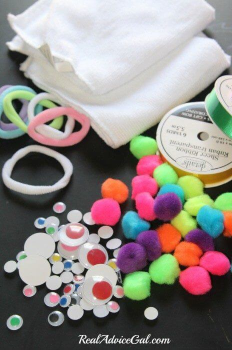 all the supplies you need to make a washcloth bunny