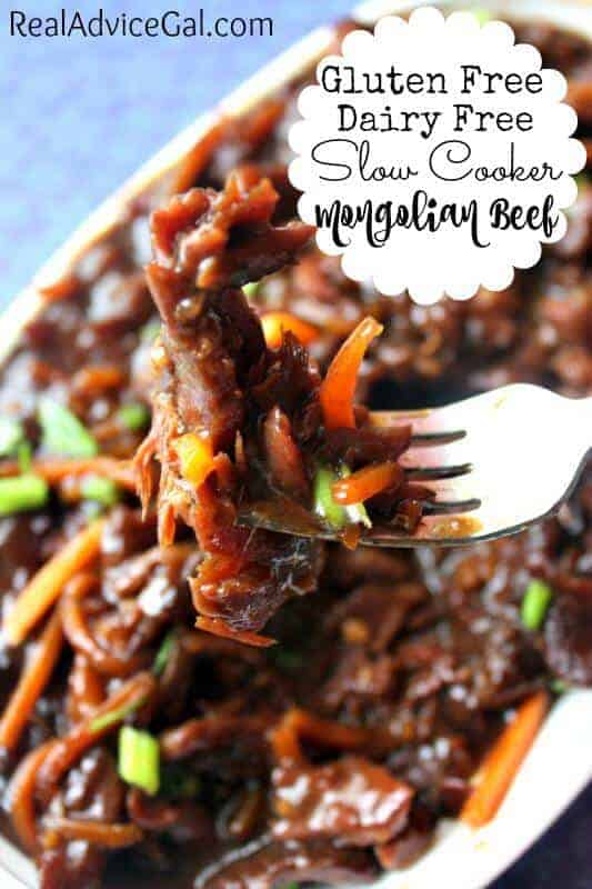 Gluten Free Dairy Free Slow Cooker Mongolian Beef Recipe. Using flank steak, soy sauce, teriyaki sauce, carrots and corn starch.