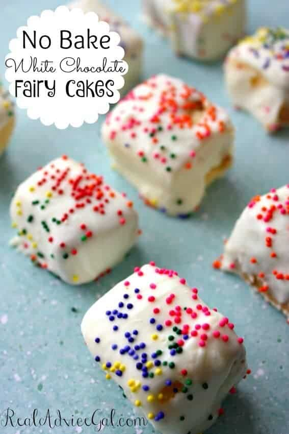 A no-bake white chocolate fairy cakes recipe that only takes few minutes to make using pound cake, white chocolate and sprinkles.