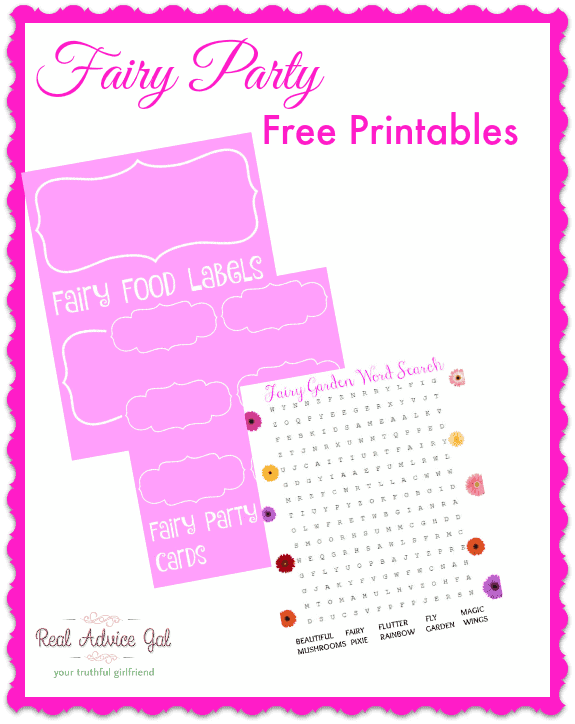 Fairy Party Printables for kids. A fun activity for kids party.