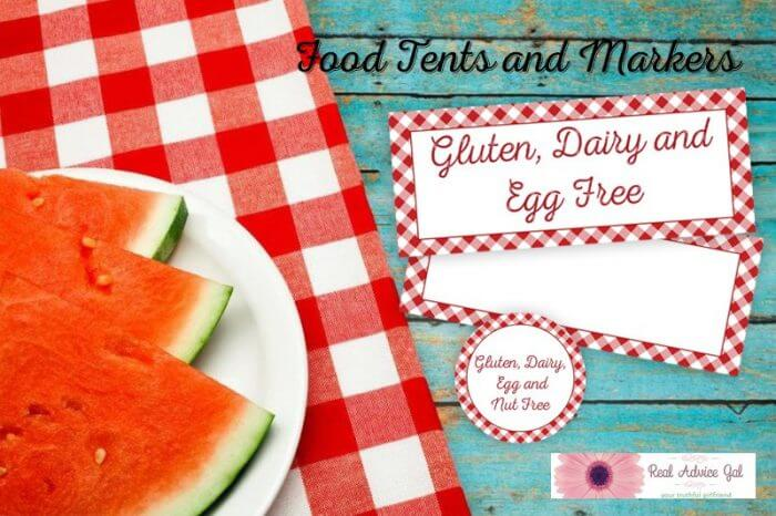 Gluten Free Picnic Food Tags and Markers
