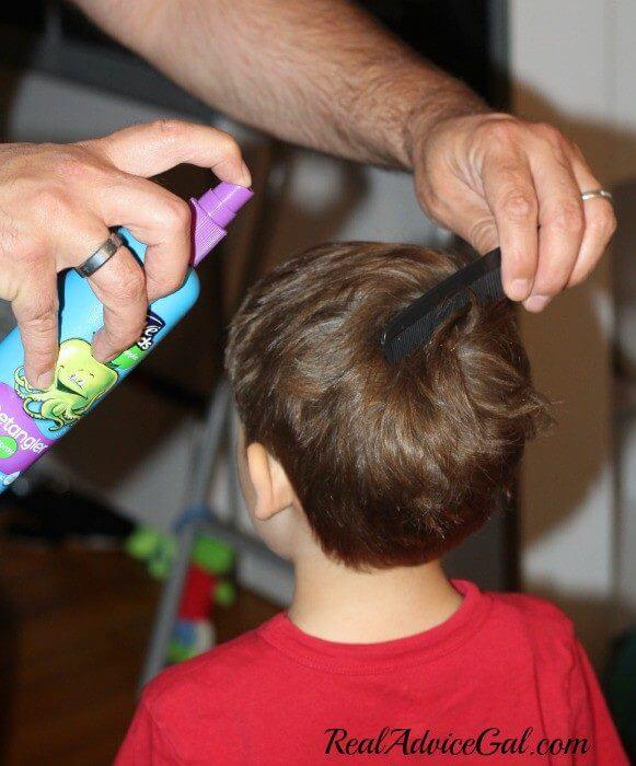 Hair Care tips for boys use detangler to tame duck butt