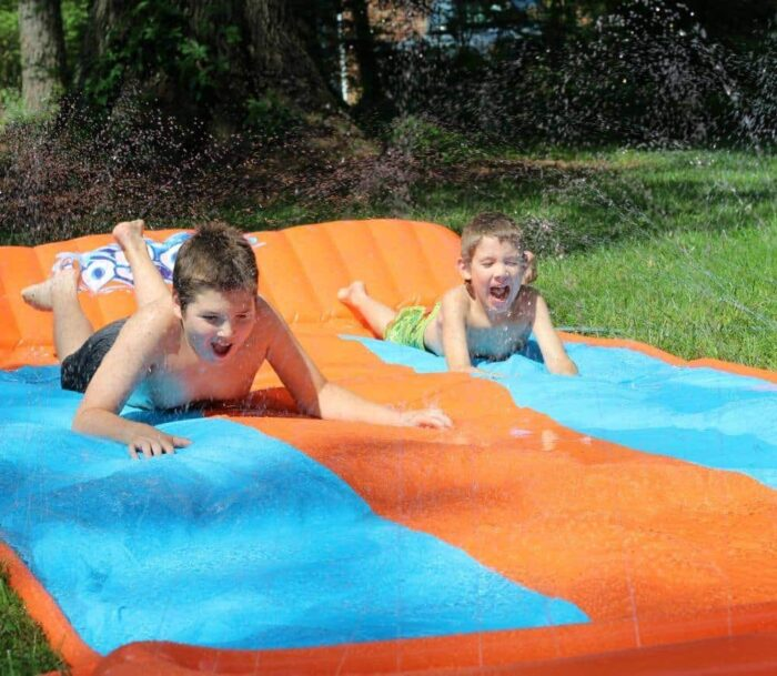 The H2OGO! triple slider is big enough for the kids to race each other which you can see by the look on their faces that they were having a blast.