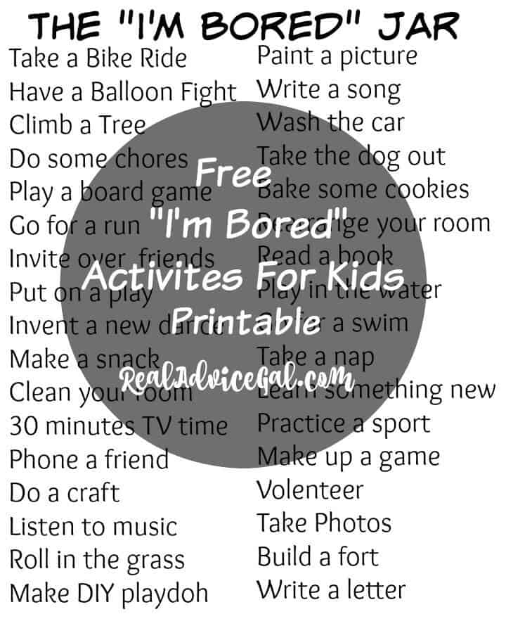 I'm Bord Jar Printable