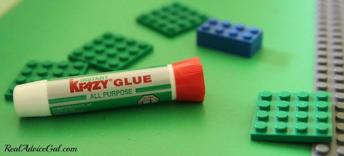 Lego Table Project use Krazy Glue to glue down the legos in the design you want