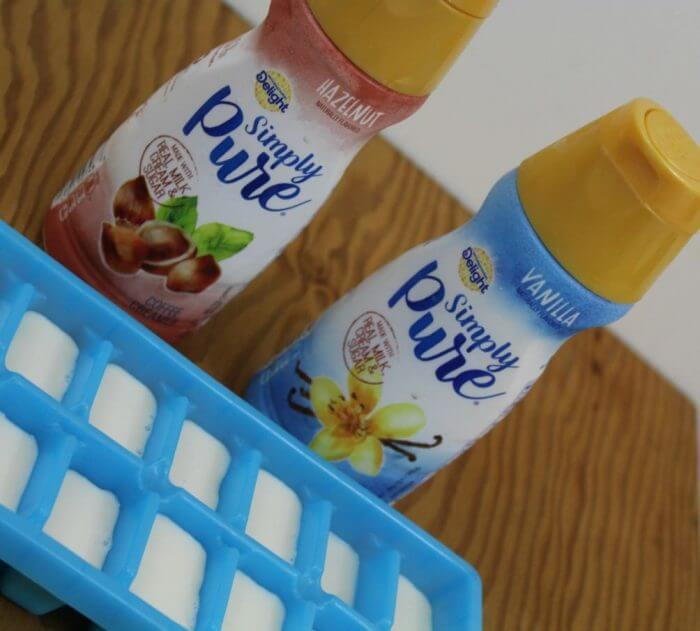 Pour coffee creamer into ice cube trays