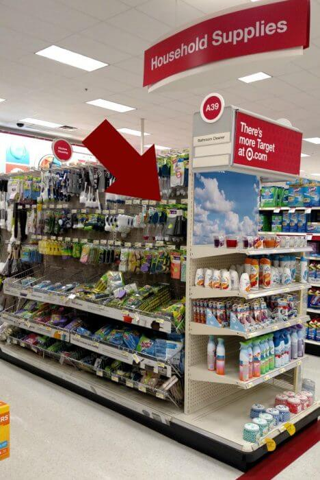 The scrubbing dish cloths come in 4 different colors in the dish washing tools area at Target