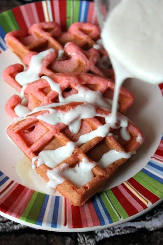 pink velvet waffles