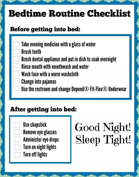 Bedtime Routine Checklist for senior care provider