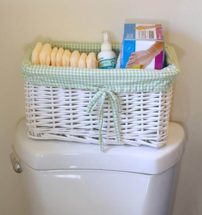 Get a care basket ready for the care provider with gloves, cleanser, and Depend Undegarments
