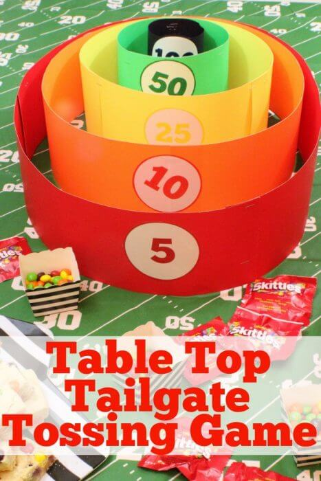 Add some serious fun to your next homegate or tailgate by challenging your guests to a round of our homemade table top tailgate tossing game