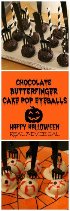 Chocolate Butterfinger Cake Pops decorated like eyeballs are the perfect treat for Halloween