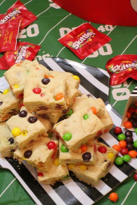 Shake up you football snack line up with a new sweet on the table skittles sugar cookie bars