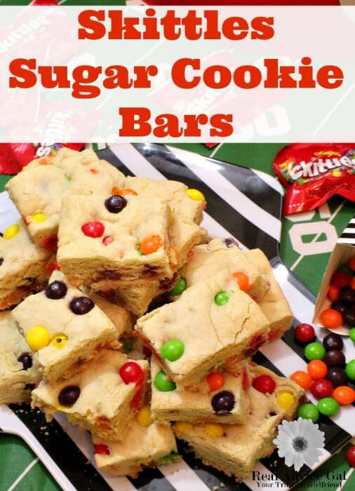 Skittles Sugar Cookie Bars are the perfect way to shake up your football snacking line up.
