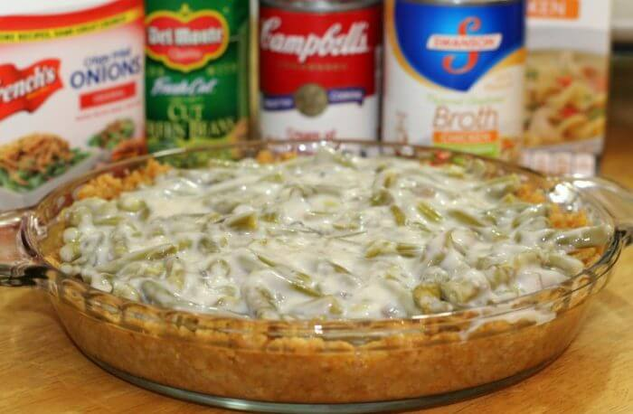 Add the green bean mixture to your pie crust