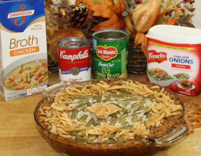 Green bean casserole pie baked and ready to eat