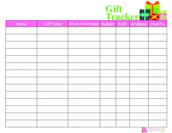 Printable gift tracker