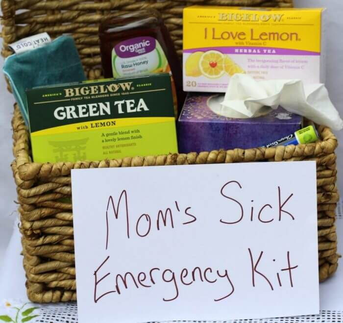 Mom's sick emergency kit has everything mom needs to take care of herself when she gets sick