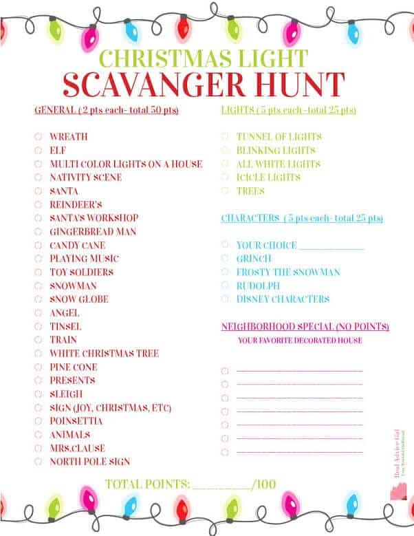 Scavenger hunt printable