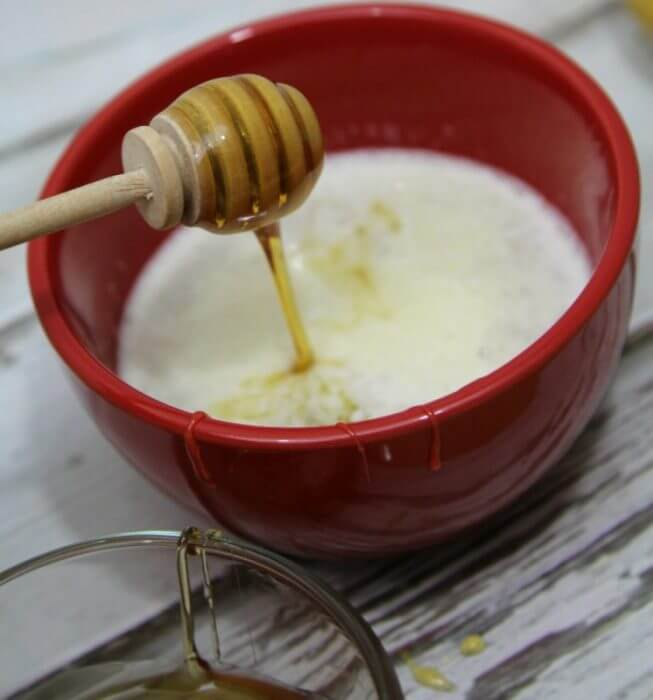 Add 3-4 tablespoons of honey and 1 tablespoon of milk