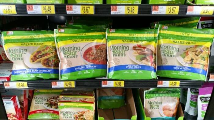 You can buy MorningStar Farms Chik N Strips at walmart in the frozen food section