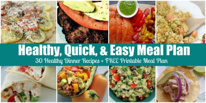 Easy Healthy Quick Meals Free Printable Menu Calendar