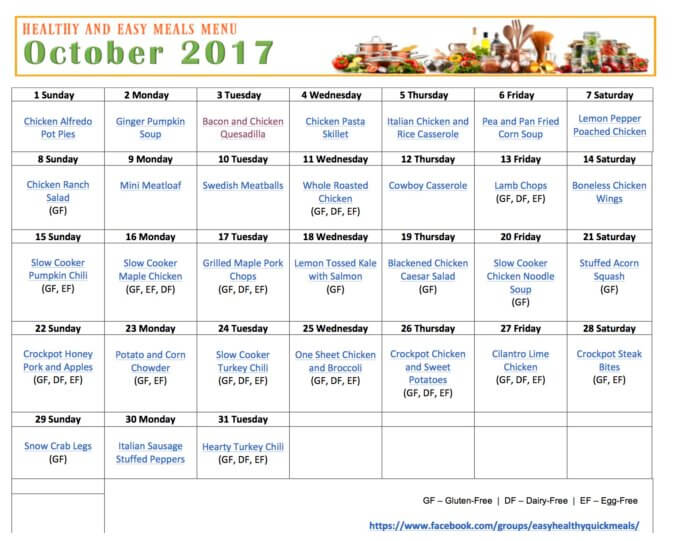 Save time and money by planning your meals. Get our Free Printable Menu Calendar of easy, healthy and quick meals.