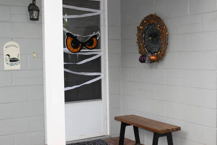This Halloween mummy door will surely be a big hit to trick or treaters.