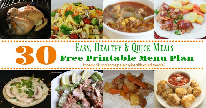Save time and money by planning your meals. This free printable menu plan for November has 30 delicious dinner recipes that are quick, easy and healthy.