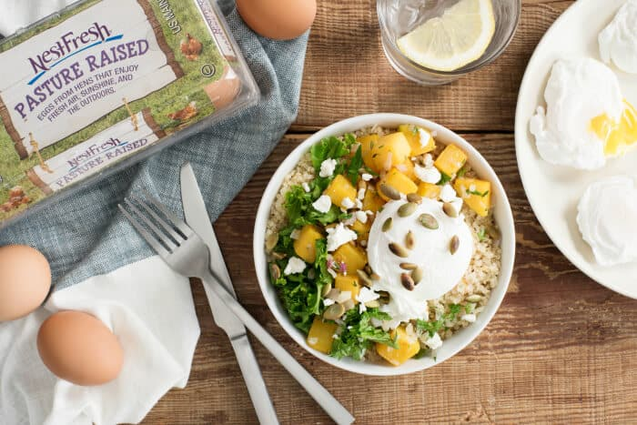 This healthy Harvest Quinoa Bowls recipe with Poached Eggs has butternut squash and kale. It is great for dinner and also gluten-free.