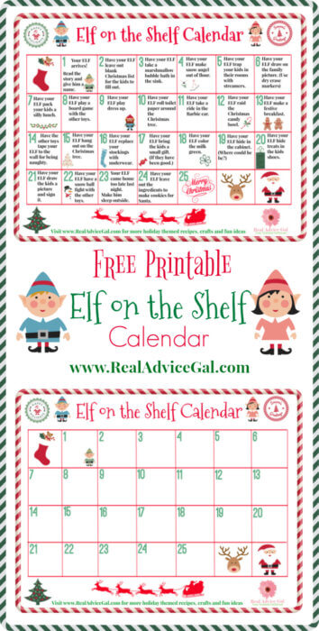 Funny Elf On The Shelf Calendar Of Ideas Real Advice Gal