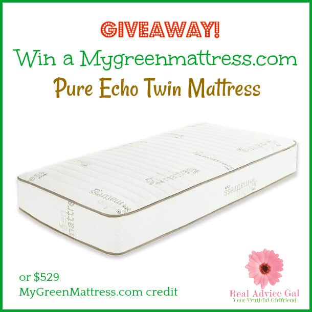 Do you want to have a good night sleep? Hurry and enter for a chance to win a MyGreenMattress.com Pure Echo Twin Mattress or a $529 credit towards another mattress size