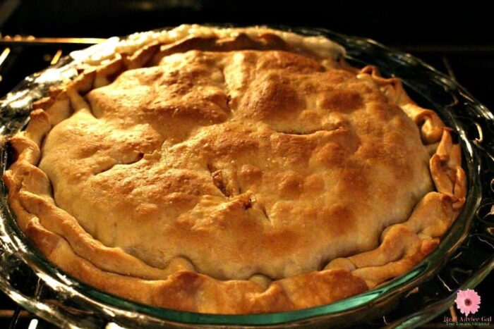 Super easy chicken pot pie recipe with filling that you can make in the pressure cooker and then just bake it in the oven.