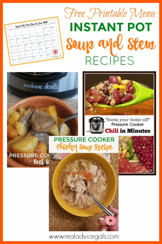 30 Instant Pot Soup and Stew Recipes with free printable menu