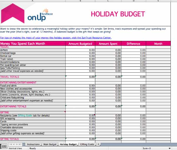 Free holiday budget worksheet to help you save money for the holiday season.