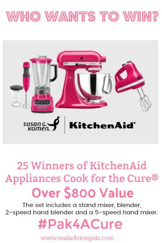 Did you know that 1 in 8 women in the U.S. will be diagnosed with breast cancer in her lifetime? Valpak has partnered with Susan G. Komen foundation in fighting against breast cancer. You can show your support by donating and participating in their events. This October Valpak will turn their Blue Envelope pink for Breast Cancer Awareness Month. You could win KitchenAid® appliances in the support of Cook for the Cure®!